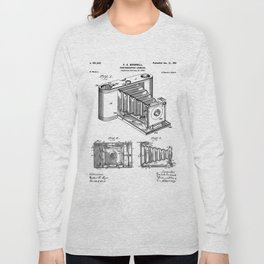 Folding Camera Patent - Photography Art - Black And White Long Sleeve T-shirt