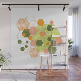 Green, orange, lemon, dusty pink, olive and gold geometrical hexagons Wall Mural