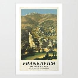 placard frankreich die tarn schluchten franzosische eisenbahnen campagne Art Print