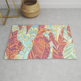 Modern abstract pink teal yellow hand painted bohemian feathers Rug