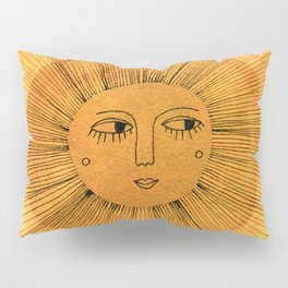 Sun Drawing Gold and Pink Pillow Sham