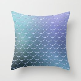 Minimalist Fish Scale Pattern in Iridescent Blue 22 Throw Pillow