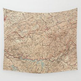 Vintage Smoky Mountains National Park Map (1949) Wall Tapestry