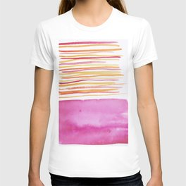 26   |181026 Lines & Color Block | Watercolor Abstract | Modern Watercolor Art T-shirt