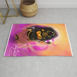 Black Female Warrior Empress Cloaked with Black and Gold Armor Rug