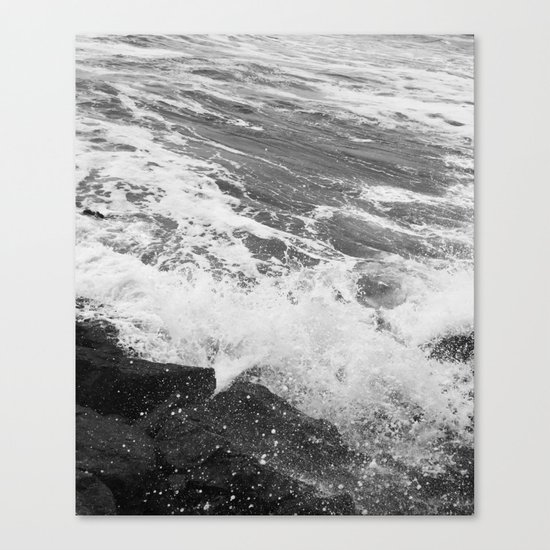 SEA on Black and White Canvas Print