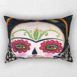 Frida The Catrina - Dia De Los Muertos Painted Skull Mixed Media Art Rectangular Pillow