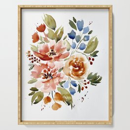 Copper Peach and Blue Abstract Floral Watercolor Serving Tray