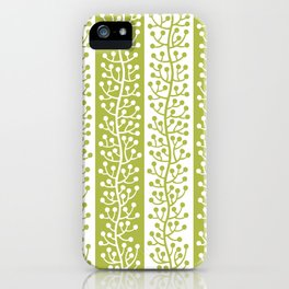 Mid Century Modern Berry Vine Stripes Chartreuse iPhone Case