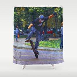 Flipping The Deck  -  Skateboarder Shower Curtain