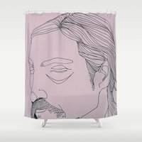 true detective Shower Curtains featuring RUST COHLE / TRUE DETECTIVE by ANNI JW