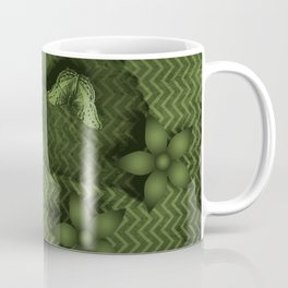 Camouflaged butterflies and flowers in green Coffee Mug