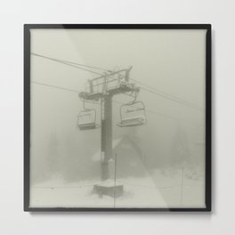 Ski Lift Fog Metal Print