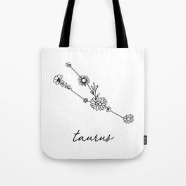 Taurus Floral Zodiac Constellation Tote Bag