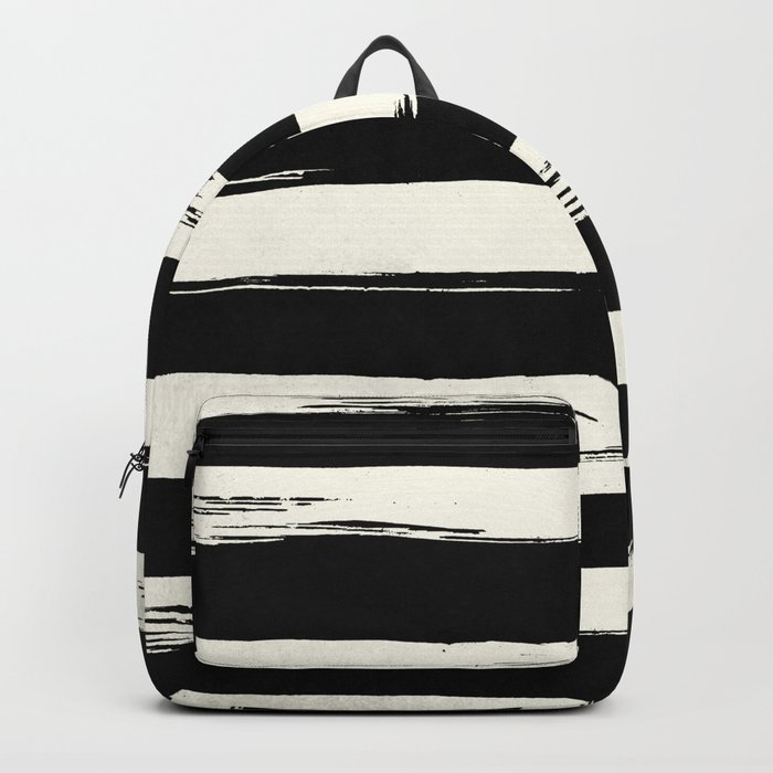 Trendy Black + Cream Stripes Backpack