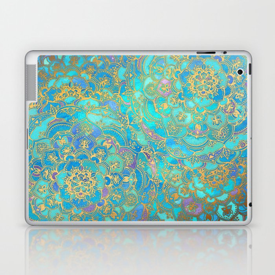 Sapphire & Jade Stained Glass Mandalas Laptop & iPad Skin