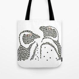 Vanishing Penguins by Black Dwarf Designs Tote Bag