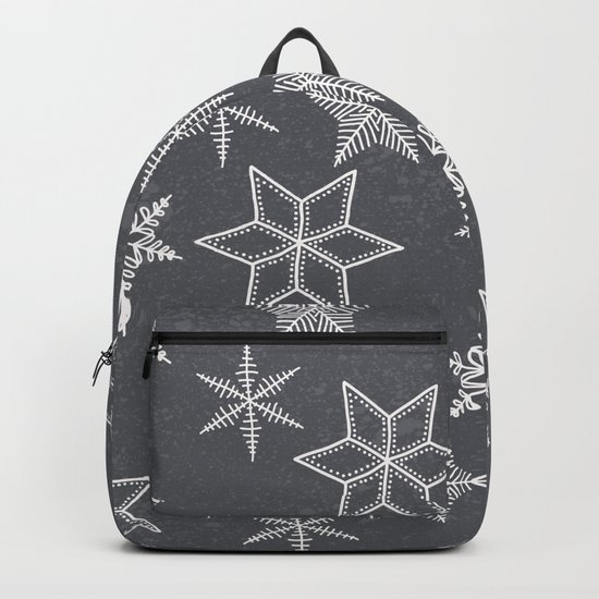 Snowflakes on grey background Backpack
