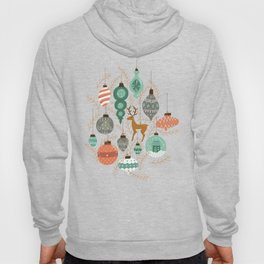 Holiday Ornaments in Aqua + Coral Hoody