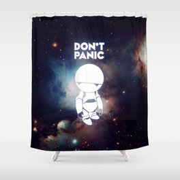Don't Panic Marvin Shower Curtain