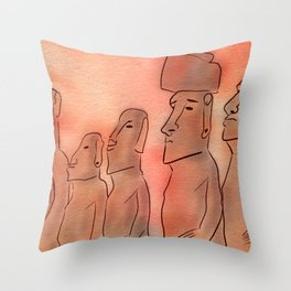 Moai statues watercolor Throw Pillow