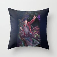 guardians of the galaxy Throw Pillows featuring Guardians Of The Galaxy by Arashi.C