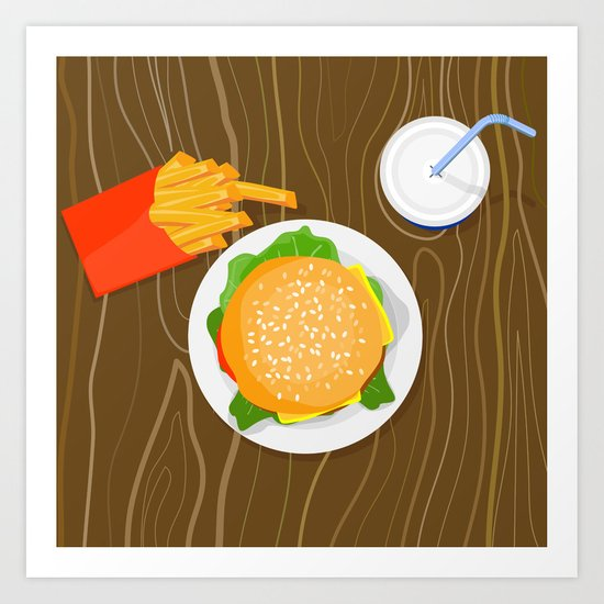 Burger Fries Drink Retro Art Print