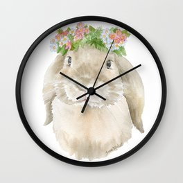 Lop Rabbit Floral Wreath Watercolor Painting Wall Clock