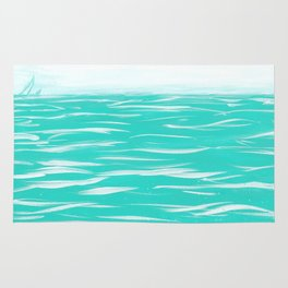 Sailing Across A Turquoise Sea Rug