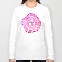 literary Long Sleeve T-shirts featuring My List – Pink Ombré Ink by Cat Coquillette