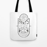 lettering Tote Bags featuring Lettering (Maybe) by Lucia Prieto Moreno