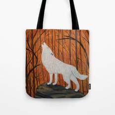 white wolf in the sunset Tote Bag