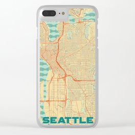 Seattle Map Retro Clear iPhone Case