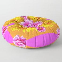 FUCHSIA PINK DAHLIAS & YELLOW SUNFLOWERS GARDEN ART Floor Pillow