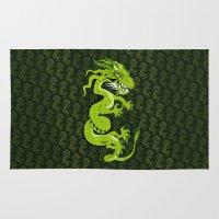 smaug Area & Throw Rugs featuring Jade Dragon by Cartoonasaurus