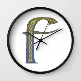 Celtic Knotwork Alphabet - Letter F Wall Clock