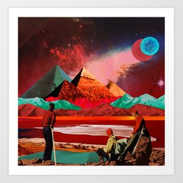 Red desert expedition Art Print