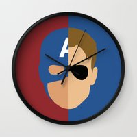 steve rogers Wall Clocks featuring Captain Rogers by Nick Kemp