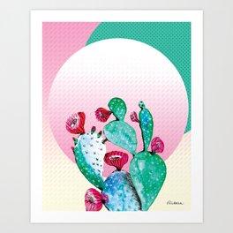 Watercolor Cactus - Pink And Teal Art Print