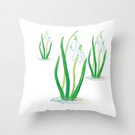 Snowdrops (Galanthus nivalis) Throw Pillow