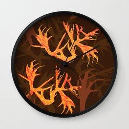 Horns Autumn Pattern Wall Clock