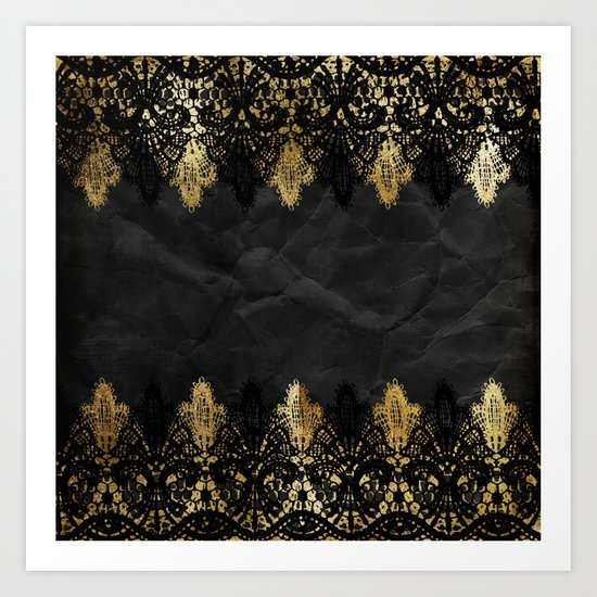 Simply elegance - Gold and black ornamental lace on black paper Art Print