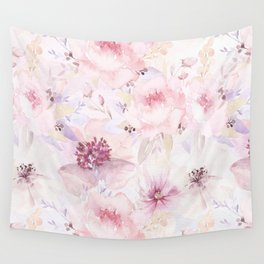 Pastel Summer Flower Watercolor Pattern Wall Tapestry