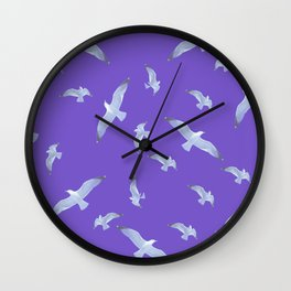 purple seagull day flight Wall Clock