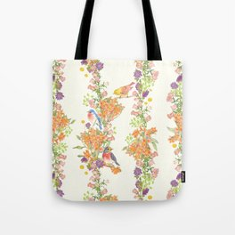 Romantic Vintage Design of Birds & Flowers - Natural colorful Tote Bag