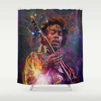 woodstock Shower Curtains featuring Woodstock Kiss the Sky by ZiggyChristenson