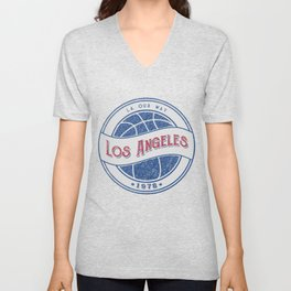 Los Angeles basketball white vintage logo Unisex V-Neck
