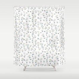 Vintage Wildflower Pattern Shower Curtain