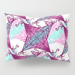 Artsy Pink Purple Teal Geometric Abstract Kites Pillow Sham