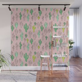 Green & Yellow Cactus on Pink Wall Mural